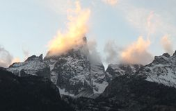 Majestic Peaks. A photo of the Grand Tetons at Sunset Royalty Free Stock Photography