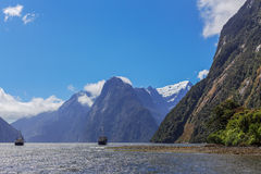 Majestic peaks of Milford Sound, Fiordland, New Zealand Stock Photos