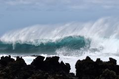 Majestic, power of the surf mat La Preouse Bay on Maui. Royalty Free Stock Photography