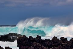 Majestic, power of the surf mat La Preouse Bay on Maui. Royalty Free Stock Photo