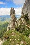 Majestic rock tower in mountains,Piatra Craiului mountains,Carpathians,Romania Stock Photo