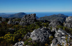 Majestic rocks. Majestic view from Table Mountain (South Africa Stock Photo