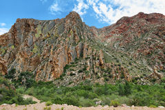 Majestic rocky redish mountains in Swartberg pass Stock Image