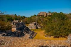 Majestic ruins in Ek Balam. Ek Balam is a Yucatec Maya archaeological site within the municipality of Temozon, Yucatan, Mexico. Majestic ruins in Ek Balam stock image