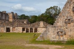 Majestic ruins Maya city in Uxmal,Mexico. Majestic ruins in Uxmal,Mexico. Uxmal is an ancient Maya city of the classical period in present-day Mexico royalty free stock images