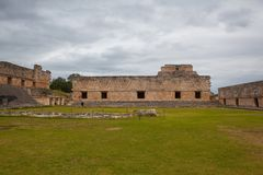Majestic ruins Maya city in Uxmal,Mexico. Uxmal, Mexico - January 30, 2018: Majestic ruins in Uxmal,Mexico. Uxmal is an ancient Maya city of the classical royalty free stock photography