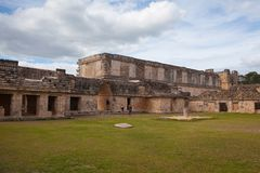 Majestic ruins Maya city in Uxmal,Mexico. Uxmal, Mexico - January 30, 2018: Majestic ruins in Uxmal,Mexico. Uxmal is an ancient Maya city of the classical royalty free stock photos