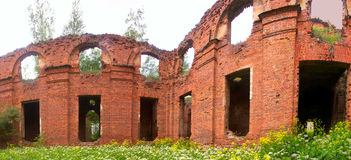 Majestic Ruins of stables and headquarters of hussars Stock Photos