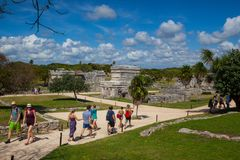Majestic ruins in Tulum, Mexico. Tulum, Mexico - February 3,2018: Majestic ruins in Tulum.Tulum is a resort town on Mexicos Caribbean coast. The 13th-century stock images