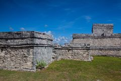 Majestic ruins in Tulum, Mexico. Majestic ruins in Tulum.Tulum is a resort town on Mexicos Caribbean coast. The 13th-century, walled Mayan archaeological site at royalty free stock images