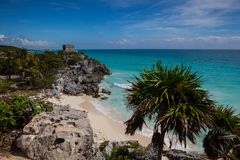 Majestic ruins in Tulum, Mexico. Majestic ruins in Tulum.Tulum is a resort town on Mexicos Caribbean coast. The 13th-century, walled Mayan archaeological site at stock images