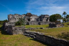 Majestic ruins in Tulum, Mexico. Majestic ruins in Tulum.Tulum is a resort town on Mexicos Caribbean coast. The 13th-century, walled Mayan archaeological site at stock photo