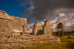 Majestic ruins in Tulum,Yucatan, Mexico. Tulum is the site of a pre-Columbian Mayan walled city stock photos