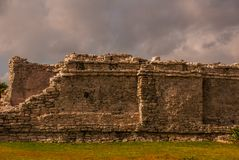 Majestic ruins in Tulum,Yucatan, Mexico. Tulum is the site of a pre-Columbian Mayan walled city royalty free stock images