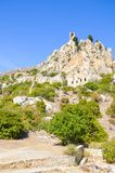 Majestic Saint Hilarion Castle in Cypriot Kyrenia region, Northern Cyprus. The fortress, originally monastery, from 10th century. Is located on top of the stock photos