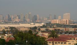 Majestic San Diego Skyline. This is a photo of the downtown San Diego skyline and parts of a resdential area in Point Loma Stock Images