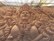 Majestic sand sculpture depicting Goddess Durga. A grand sand sculpture depicting Goddess Durga in a museum in Mysore Royalty Free Stock Photos