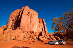 The majestic sandstone masterpieces in the Navajo Nation`s Monument Valley Park. The famous mesa in Utah, USA Royalty Free Stock Image