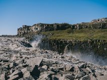 Majestic scenery with Dettifoss waterfall. In Iceland royalty free stock images