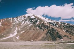 Majestic snow capped mountain peak in Indian Himalayas,. Ladakh region Royalty Free Stock Photos