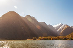 Majestic snow capped peaks of Milford Sound with sun flare. Fior Royalty Free Stock Photography