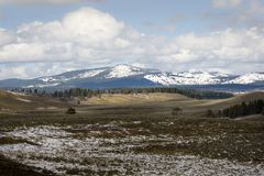 Majestic snow mountain at Hayden Valley on Yellowstone National Park royalty free stock images