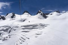 The majestic snowy landscape of the Mont Blanc massif. Stock Images