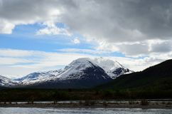 Majestic snowy mountain and river landscape Royalty Free Stock Image