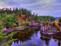 Majestic St. Croix River. Lovely early fall view from the Pothole Trail in the Interstate Park at St. Croix Falls, WI Stock Image