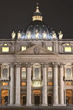 Majestic St. Peter's Basilica by night in Rome, Vatican, Italy Royalty Free Stock Image