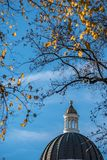 California Capitol Building Golden Cupola with Fall Leaves Stock Photography