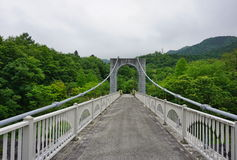 Majestic stony bridge for pedestrians spanning over the green valley in Nikko, Japan Royalty Free Stock Image