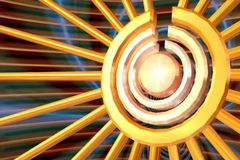 A majestic sun spiral rotating anti clockwise with its golden center rotating clockwise