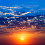 Majestic sunrise. Sunrise has painted the sky bright paints Royalty Free Stock Images