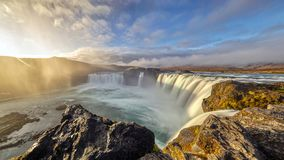 Majestic Sunrise at Godafoss, Northeastern Iceland. The Goðafoss is a waterfall in Iceland. It is located in the Bárðardalur district of Northeastern stock photo