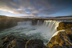 Majestic Sunrise at Godafoss, Northeastern Iceland. The Goðafoss is a waterfall in Iceland. It is located in the Bárðardalur district of Northeastern stock photos