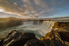Majestic Sunrise at Godafoss, Northeastern Iceland. The Goðafoss is a waterfall in Iceland. It is located in the Bárðardalur district of Northeastern stock images