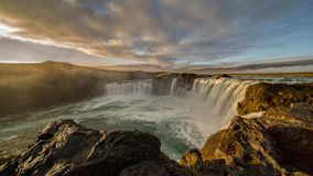 Majestic Sunrise at Godafoss, Northeastern Iceland. The Goðafoss is a waterfall in Iceland. It is located in the Bárðardalur district of Northeastern royalty free stock photo