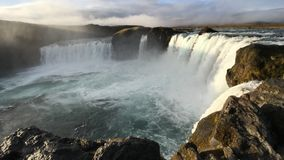 Majestic Sunrise at Godafoss, Northeastern Iceland. The Goðafoss is a waterfall in Iceland. It is located in the Bárðardalur district of Northeastern royalty free stock image