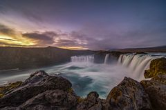Majestic Sunrise at Godafoss, Northeastern Iceland. The Goðafoss is a waterfall in Iceland. It is located in the Bárðardalur district of Northeastern royalty free stock photography