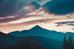 Majestic sunrise in montains Stock Photo