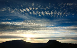Majestic sunrise in mountains, morning sky Royalty Free Stock Images