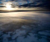 Majestic sunrise over coolled land stock image