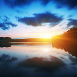 Majestic sunrise over the lake Royalty Free Stock Image