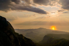 Majestic Sunrise over the mountains  with sunbeams Royalty Free Stock Photography