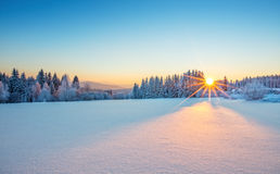 Majestic sunrise in the winter mountains landscape. Royalty Free Stock Image