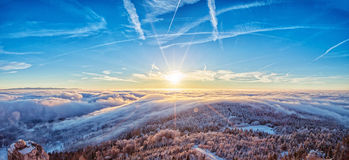 Majestic sunrise in the winter mountains landscape. Stock Images