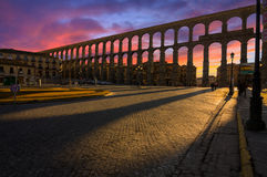 Majestic Sunset Image of the Ancient Aqueduct in Segovia Spain Royalty Free Stock Image
