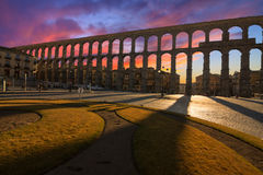 Majestic Sunset Image of the Ancient Aqueduct in Segovia Spain Stock Photos