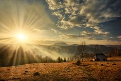 Majestic Sunset In The Mountains Landscape Royalty Free Stock Photography